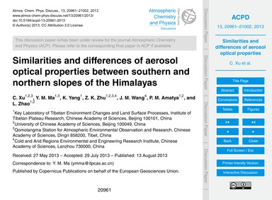 Similarities and Differences of Aerosol ... by Xu, C.