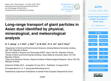 Long-range Transport of Giant Particles ... by Jeong, G. Y.
