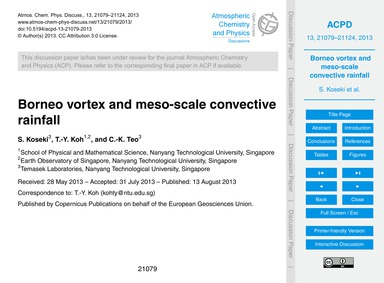 Borneo Vortex and Meso-scale Convective ... by Koseki, S.