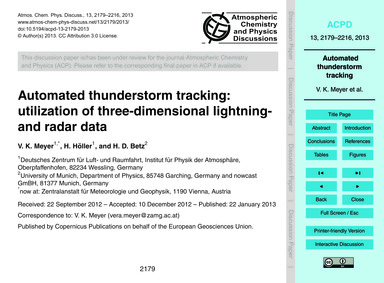Automated Thunderstorm Tracking: Utiliza... by Meyer, V. K.
