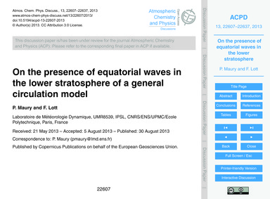 On the Presence of Equatorial Waves in t... by Maury, P.