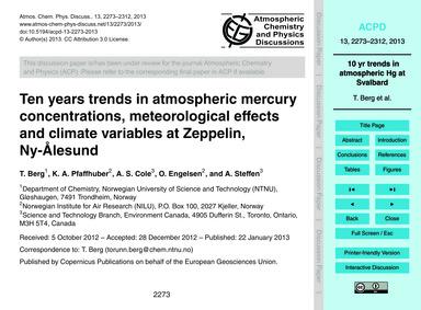 Ten Years Trends in Atmospheric Mercury ... by Berg, T.