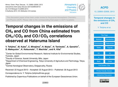Temporal Changes in the Emissions of Ch4... by Tohjima, Y.