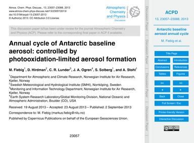 Annual Cycle of Antarctic Baseline Aeros... by Fiebig, M.