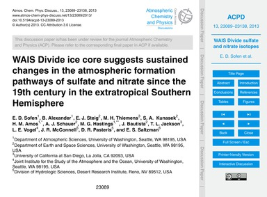 Wais Divide Ice Core Suggests Sustained ... by Sofen, E. D.
