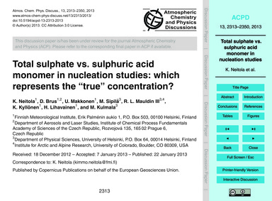 Total Sulphate Vs. Sulphuric Acid Monome... by Neitola, K.