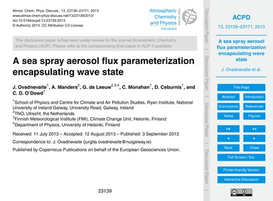 A Sea Spray Aerosol Flux Parameterizatio... by Ovadnevaite, J.