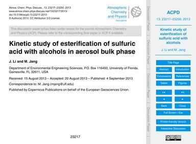 Kinetic Study of Esterification of Sulfu... by Li, J.