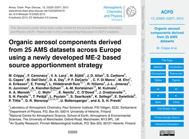 Organic Aerosol Components Derived from ... by Crippa, M.