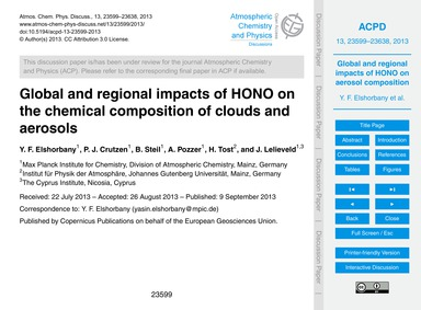 Global and Regional Impacts of Hono on t... by Elshorban, Y. F.