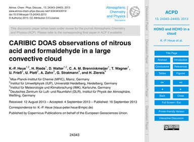 Caribic Doas Observations of Nitrous Aci... by Heue, K.-p.