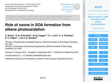 Role of Ozone in Soa Formation from Alka... by Zhang, X.