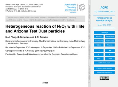 Heterogeneous Reaction of N2O5 with Illi... by Tang, M. J.