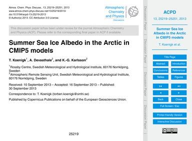 Summer Sea Ice Albedo in the Arctic in C... by Koenigk, T.