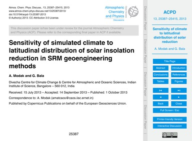 Sensitivity of Simulated Climate to Lati... by Modak, A.