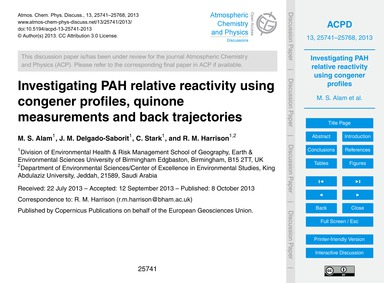 Investigating Pah Relative Reactivity Us... by Alam, M. S.