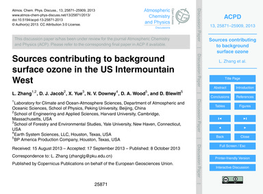 Sources Contributing to Background Surfa... by Zhang, L.