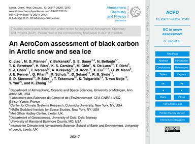 An Aerocom Assessment of Black Carbon in... by Jiao, C.