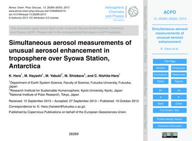 Simultaneous Aerosol Measurements of Unu... by Hara, K.