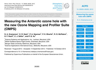 Measuring the Antarctic Ozone Hole with ... by Kramarova, N. A.