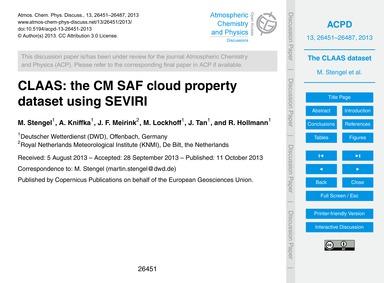 Claas: the Cm Saf Cloud Property Dataset... by Stengel, M.