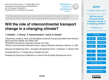 Will the Role of Intercontinental Transp... by Glotfelty, T.