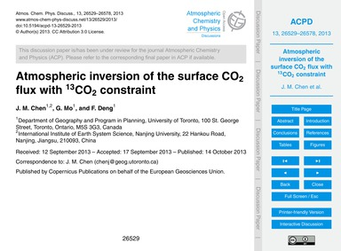 Atmospheric Inversion of the Surface Co2... by Chen, J. M.