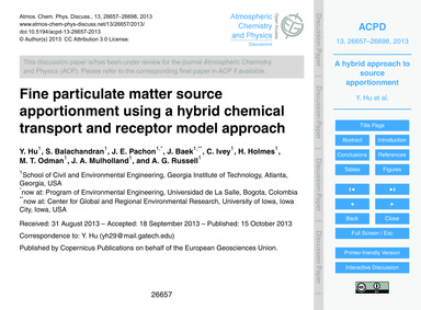Fine Particulate Matter Source Apportion... by Hu, Y.