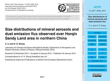 Size Distributions of Mineral Aerosols a... by Li, X.