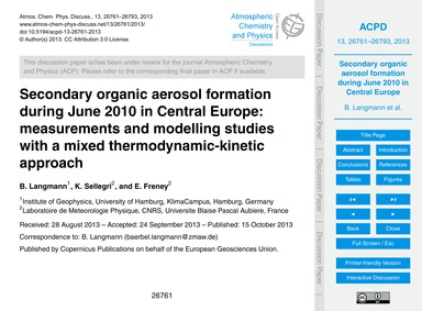 Secondary Organic Aerosol Formation Duri... by Langmann, B.