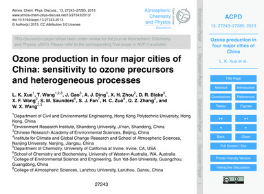 Ozone Production in Four Major Cities of... by Xue, L. K.