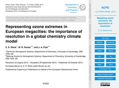 Representing Ozone Extremes in European ... by Stock, Z. S.
