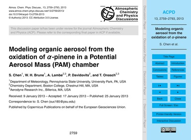 Modeling Organic Aerosol from the Oxidat... by Chen, S.
