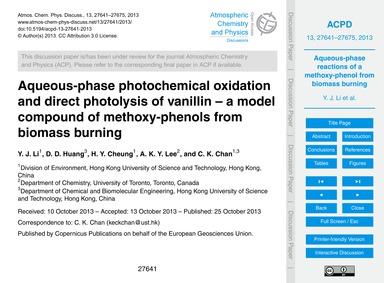 Aqueous-phase Photochemical Oxidation an... by Li, Y. J.