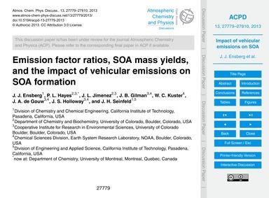 Emission Factor Ratios, Soa Mass Yields,... by Ensberg, J. J.
