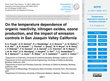On the Temperature Dependence of Organic... by Pusede, S. E.