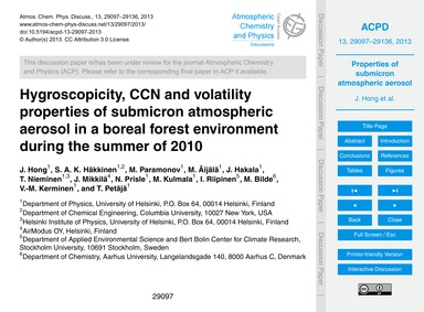 Hygroscopicity, Ccn and Volatility Prope... by Hong, J.