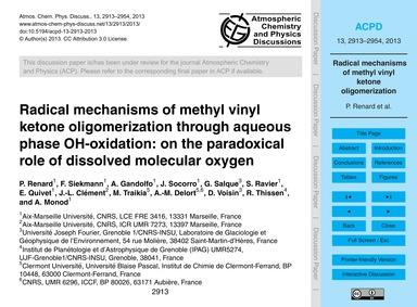Radical Mechanisms of Methyl Vinyl Keton... by Renard, P.