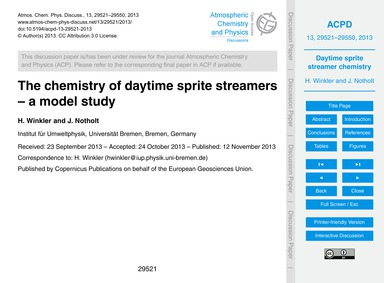 The Chemistry of Daytime Sprite Streamer... by Winkler, H.