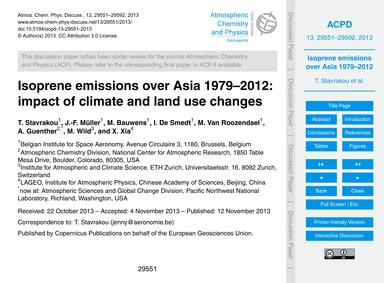 Isoprene Emissions Over Asia 1979–2012: ... by Stavrakou, T.