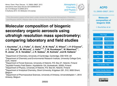 Molecular Composition of Biogenic Second... by Kourtchev, I.