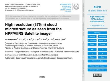 High Resolution (375 M) Cloud Microstruc... by Rosenfeld, D.