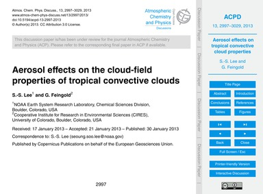 Aerosol Effects on the Cloud-field Prope... by Lee, S.-s.