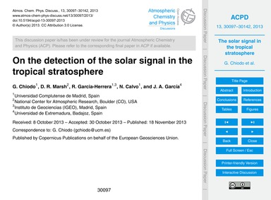 On the Detection of the Solar Signal in ... by Chiodo, G.