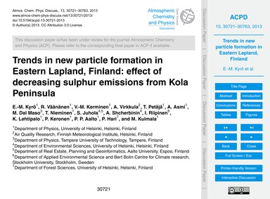 Trends in New Particle Formation in East... by Kyrö, E.-m.