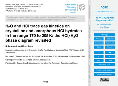 H2O and Hcl Trace Gas Kinetics on Crysta... by Iannarelli, R.