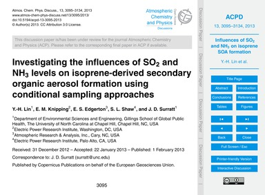 Investigating the Influences of So2 and ... by Lin, Y.-h.
