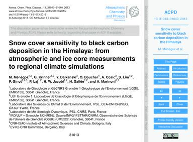 Snow Cover Sensitivity to Black Carbon D... by Ménégoz, M.