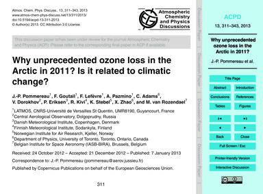 Why Unprecedented Ozone Loss in the Arct... by Pommereau, J.-p.