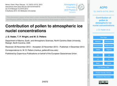Contribution of Pollen to Atmospheric Ic... by Hader, J. D.